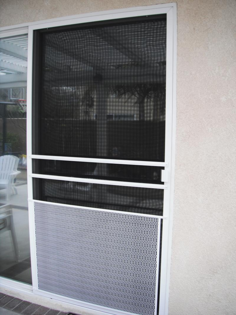 Sliding Screen Door with Pet Grill